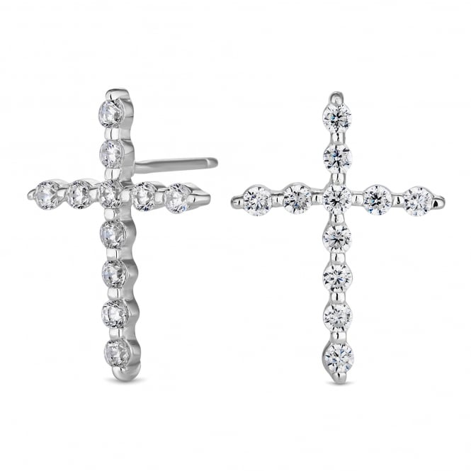 Simply Silver Sterling Silver Cubic Zirconia Crucifix Stud Earring