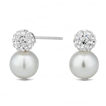 Sterling silver crystal ball pearl drop earring