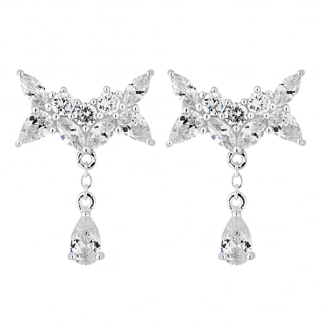 Sterling Silver Cubic Zirconia Bow Droplet Earring