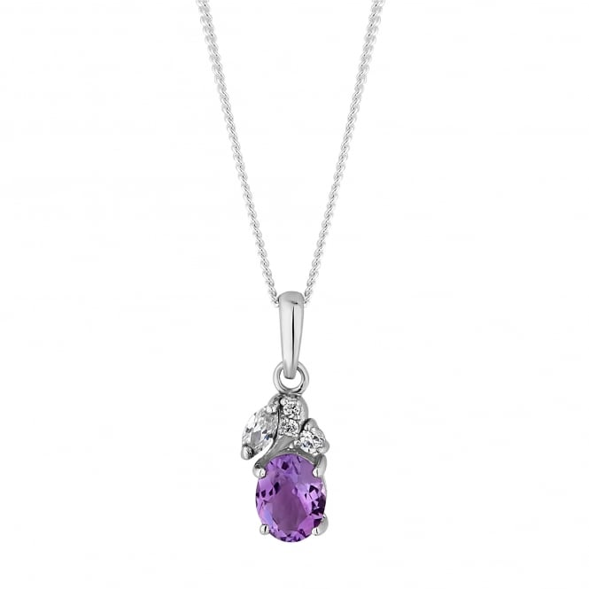 Simply Silver Sterling Silver Purple Cubic Zirconia Cluster Pendant Necklace