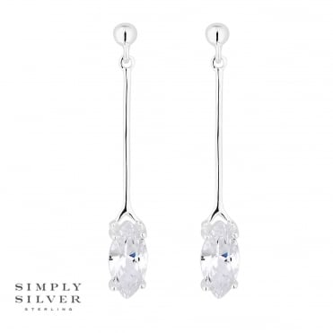 Sterling silver cubic zirconia drop earring