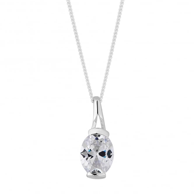 Simply Silver Sterling silver cubic zirconia drop necklace