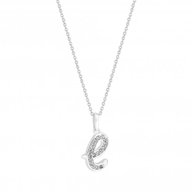 Sterling Silver Cubic Zirconia Embellished Initial E Pendant Necklace