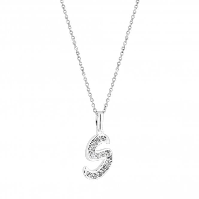 Sterling Silver Cubic Zirconia Embellished Initial S Pendant Necklace