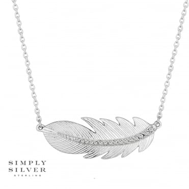 Sterling silver cubic zirconia feather necklace