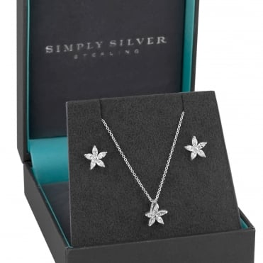 Sterling Silver Cubic Zirconia Flower Jewellery Set In A Gift Box