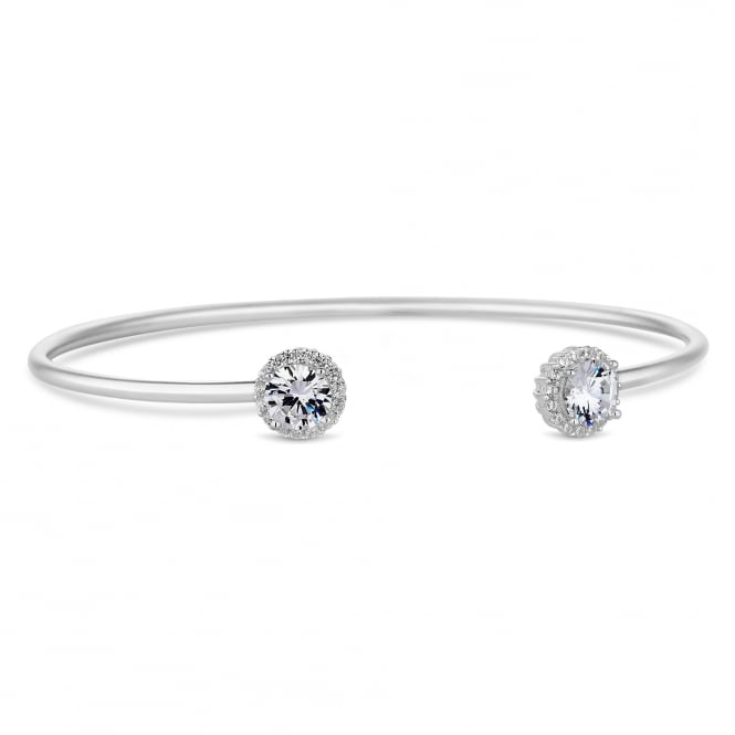 Simply Silver Sterling Silver Cubic Zirconia Halo Cuff Bangle