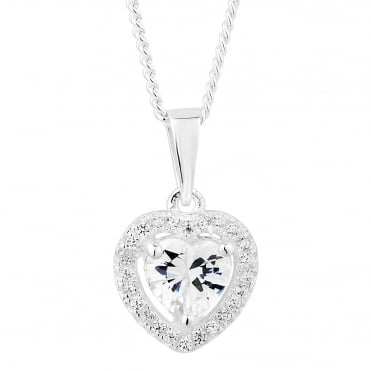 Sterling silver cubic zirconia halo heart pendant necklace
