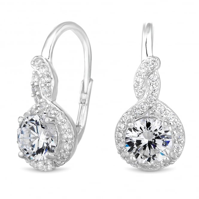 Sterling Silver Cubic Zirconia Halo Hook Earring