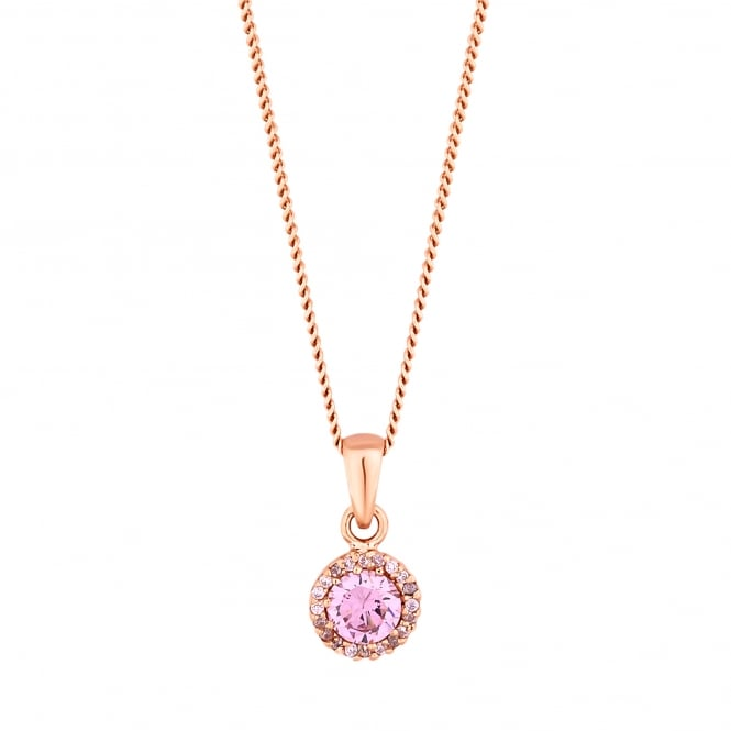 Simply Silver 14ct Rose Gold Plated Sterling Silver Pink Cubic Zirconia Halo Round Pendant Necklace