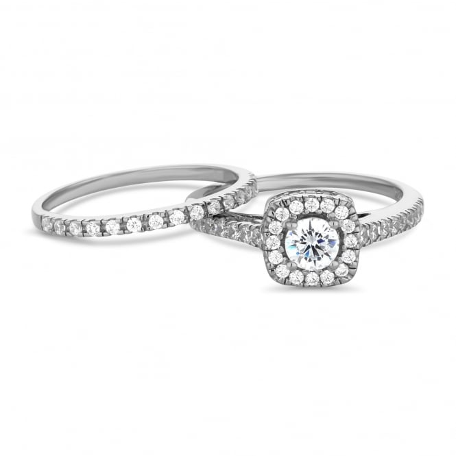 Sterling Silver Cubic Zirconia Halo Ring And Band Ring - Pack of 2