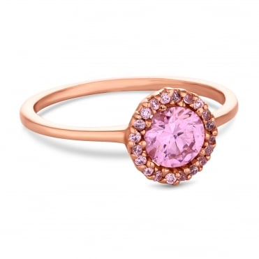 14ct Rose Gold Plated Sterling Silver Pink Cubic Zirconia Halo Round Ring