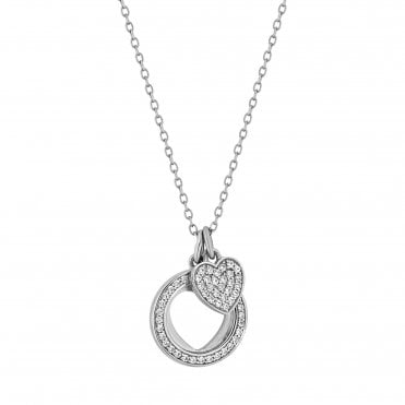 Sterling Silver Cubic Zirconia Heart Charm Pendant Necklace