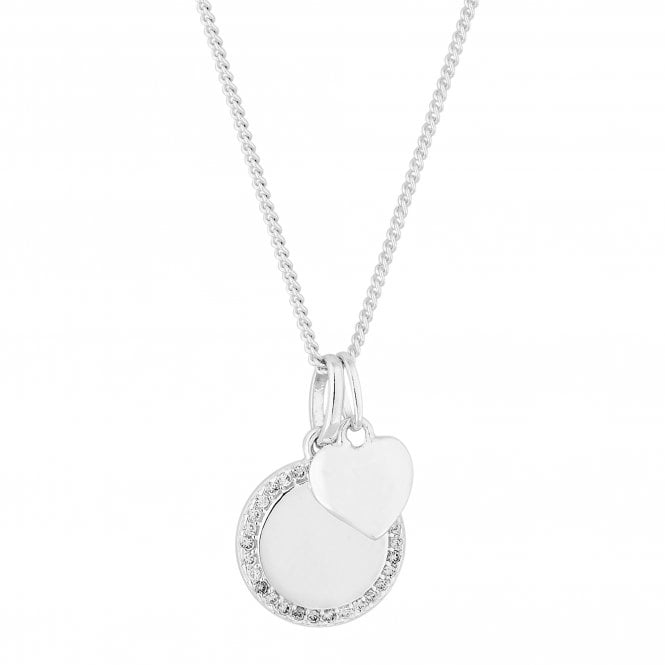 Sterling Silver Cubic Zirconia Heart Disc Pendant Necklace