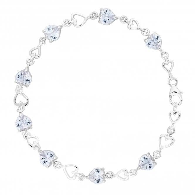 Sterling Silver Cubic Zirconia Heart Link Bracelet