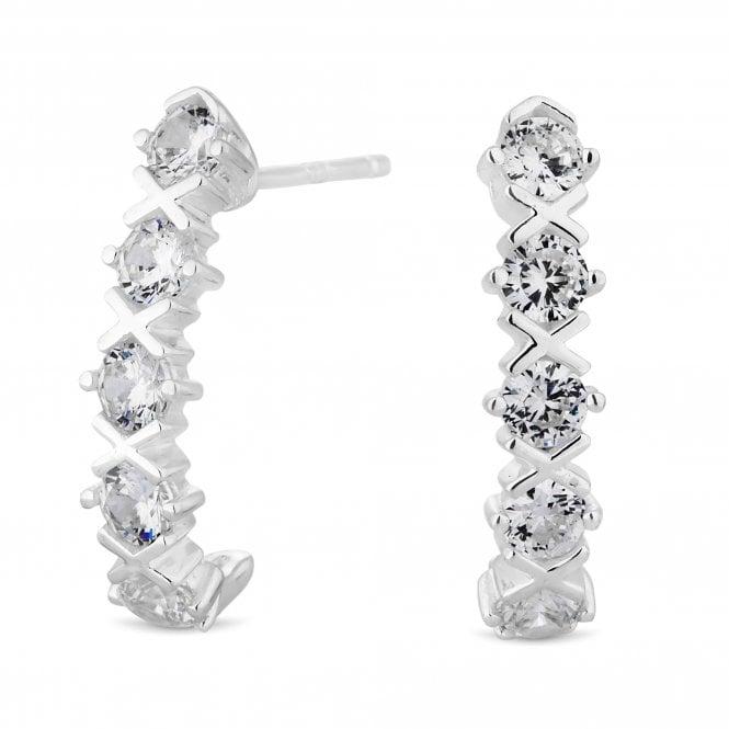 Sterling Silver Cubic Zirconia Kiss Half Hoop Earring