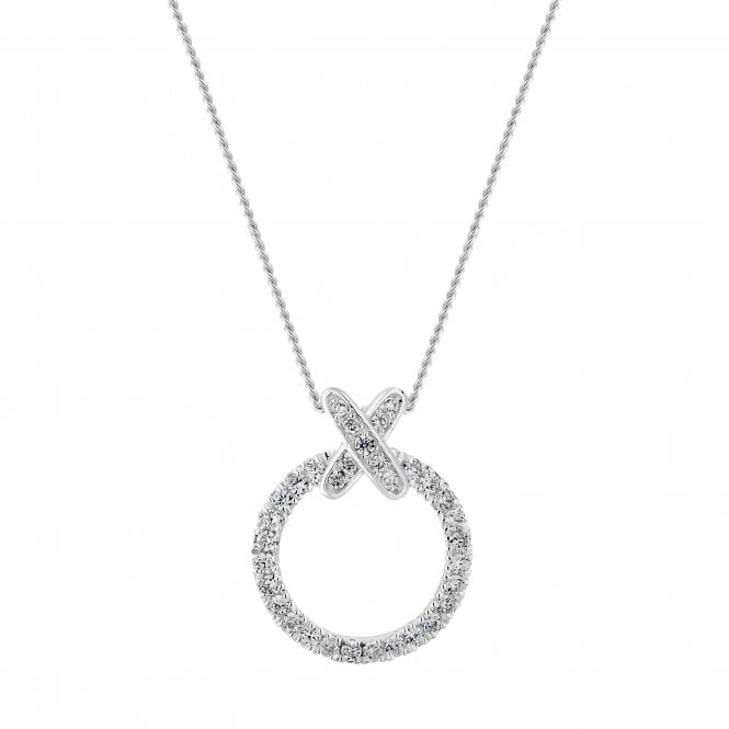 Sterling Silver Cubic Zirconia Kiss Hoop Pendant Necklace