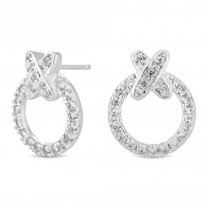 Sterling Silver Cubic Zirconia Kiss Hoop Stud Earring