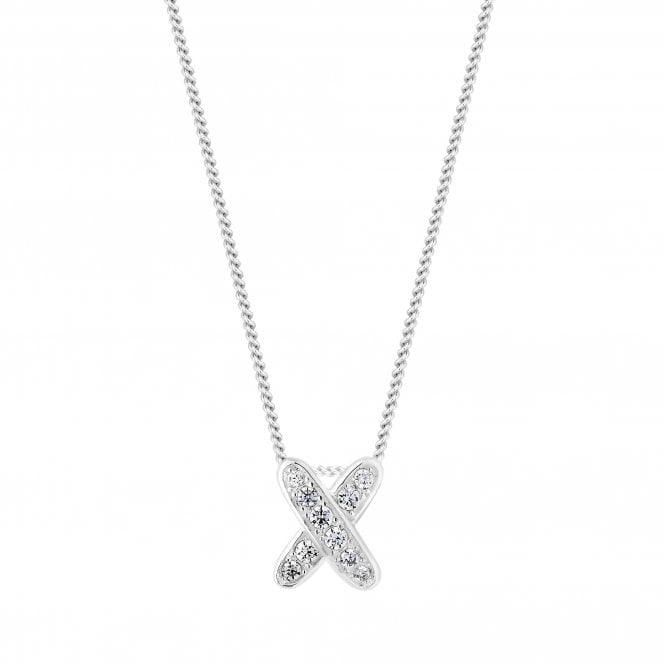 Sterling Silver Cubic Zirconia Kiss Pendant Necklace