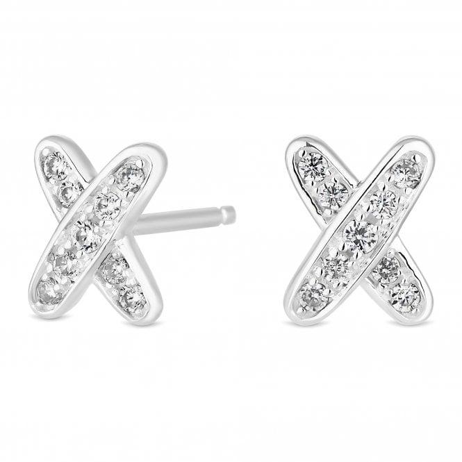 Sterling Silver Cubic Zirconia Kiss Stud Earring