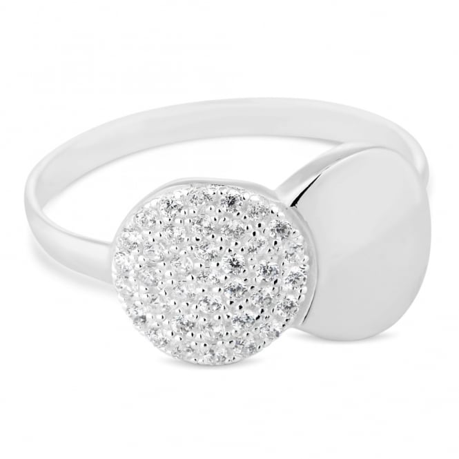 Simply Silver Sterling silver cubic zirconia link shape ring