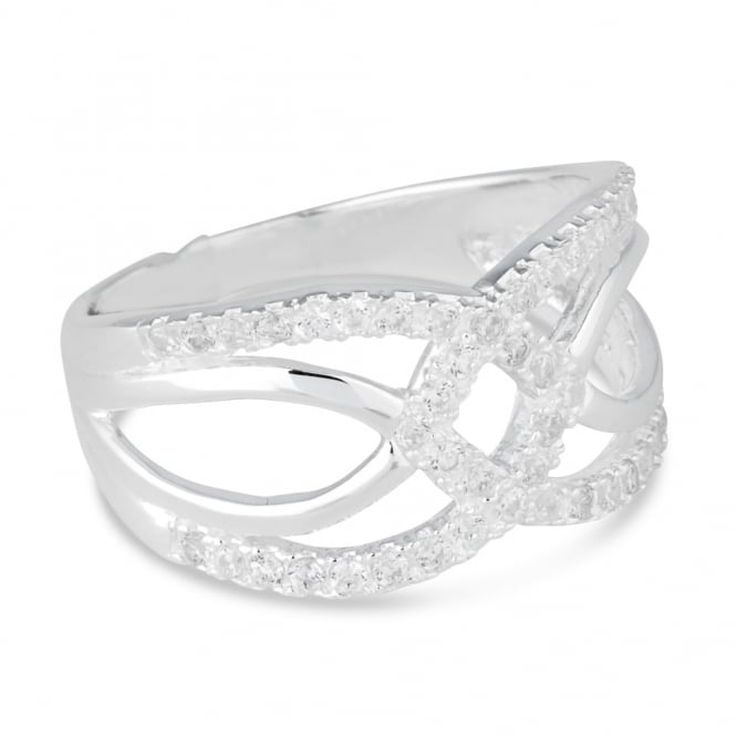Simply Silver Sterling silver cubic zirconia linked disc ring