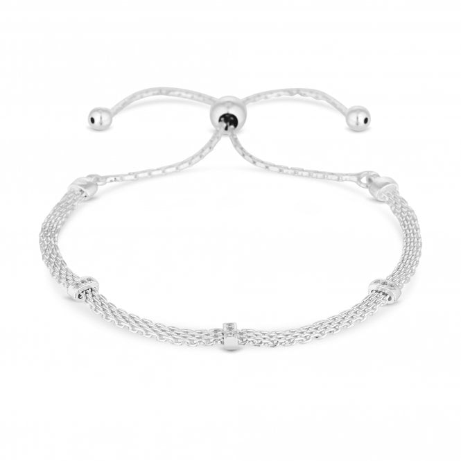 Sterling Silver Cubic Zirconia Mesh Toggle Bracelet