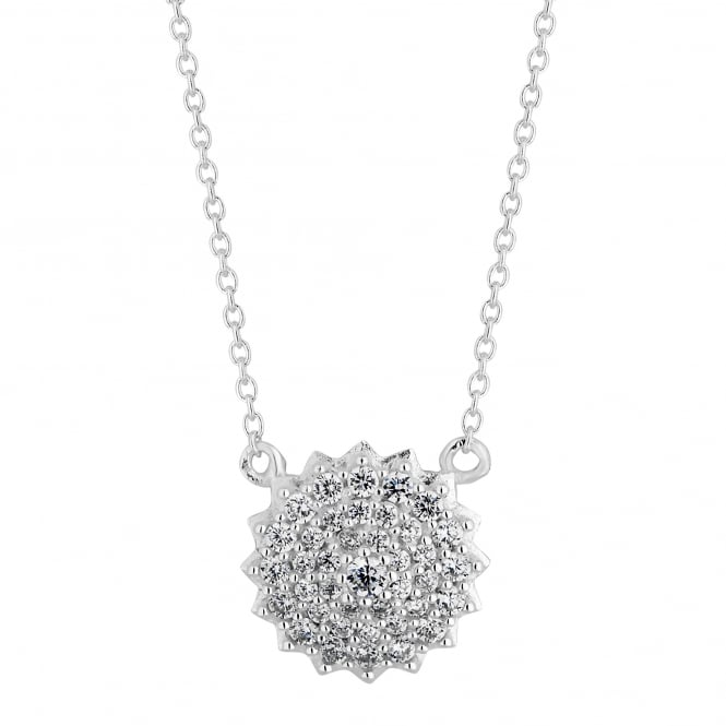 Sterling Silver Cubic Zirconia Pave Cluster Necklace