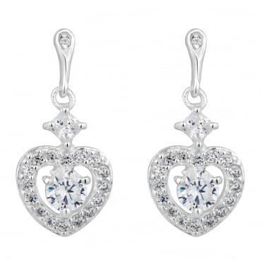 Sterling silver cubic zirconia pave heart drop earring