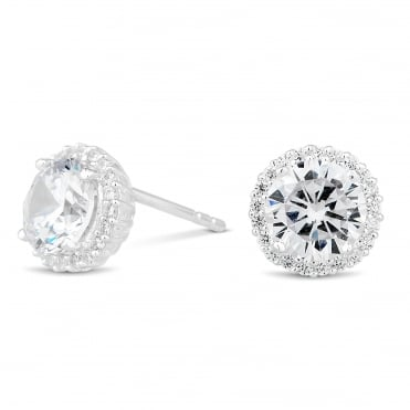 Sterling silver cubic zirconia pave surround stud earring