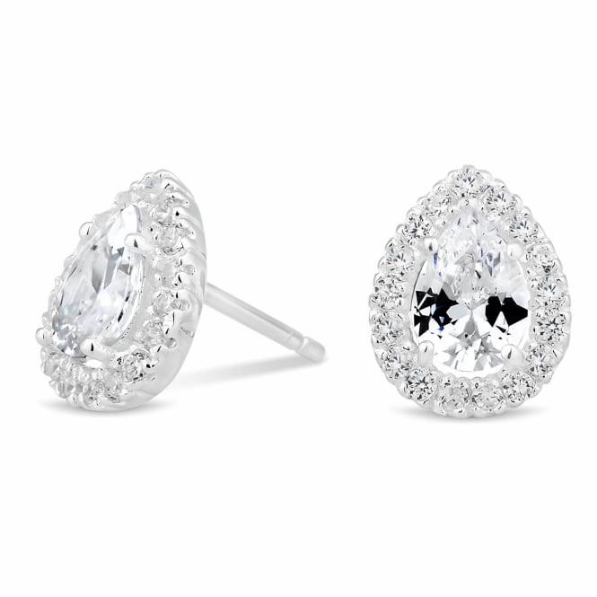 Sterling Silver Cubic Zirconia Peardrop Cluster Stud Earring