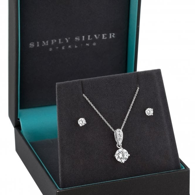 Sterling Silver Cubic Zirconia Solitaire Jewellery Set