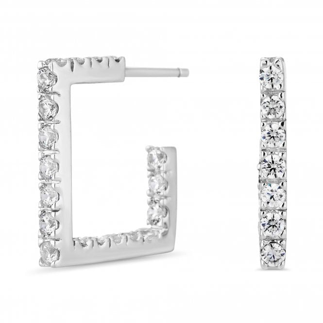 Sterling Silver Cubic Zirconia Square Hoop Earring