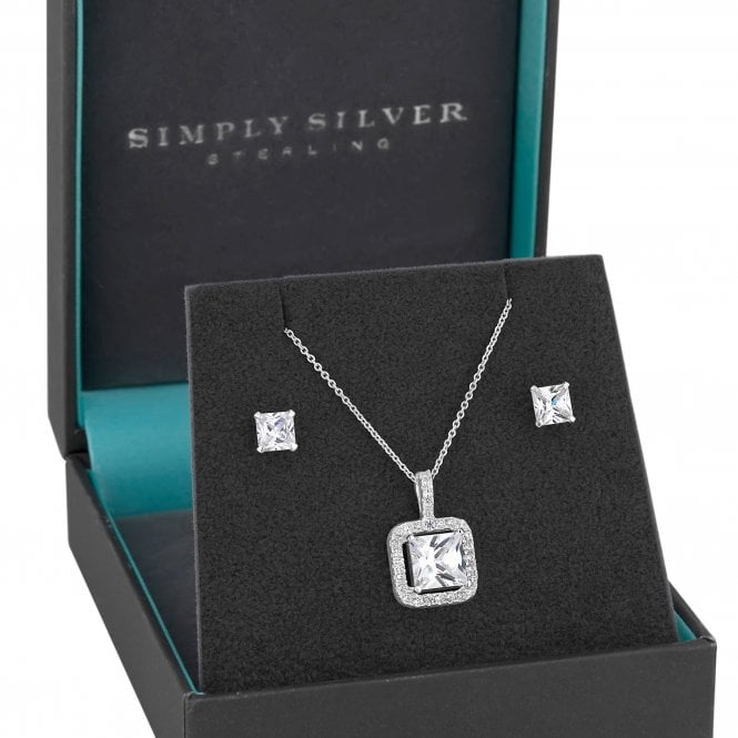 Sterling Silver Cubic Zirconia Square Jewellery Set