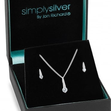 Sterling silver cubic zirconia stick necklace and earring set
