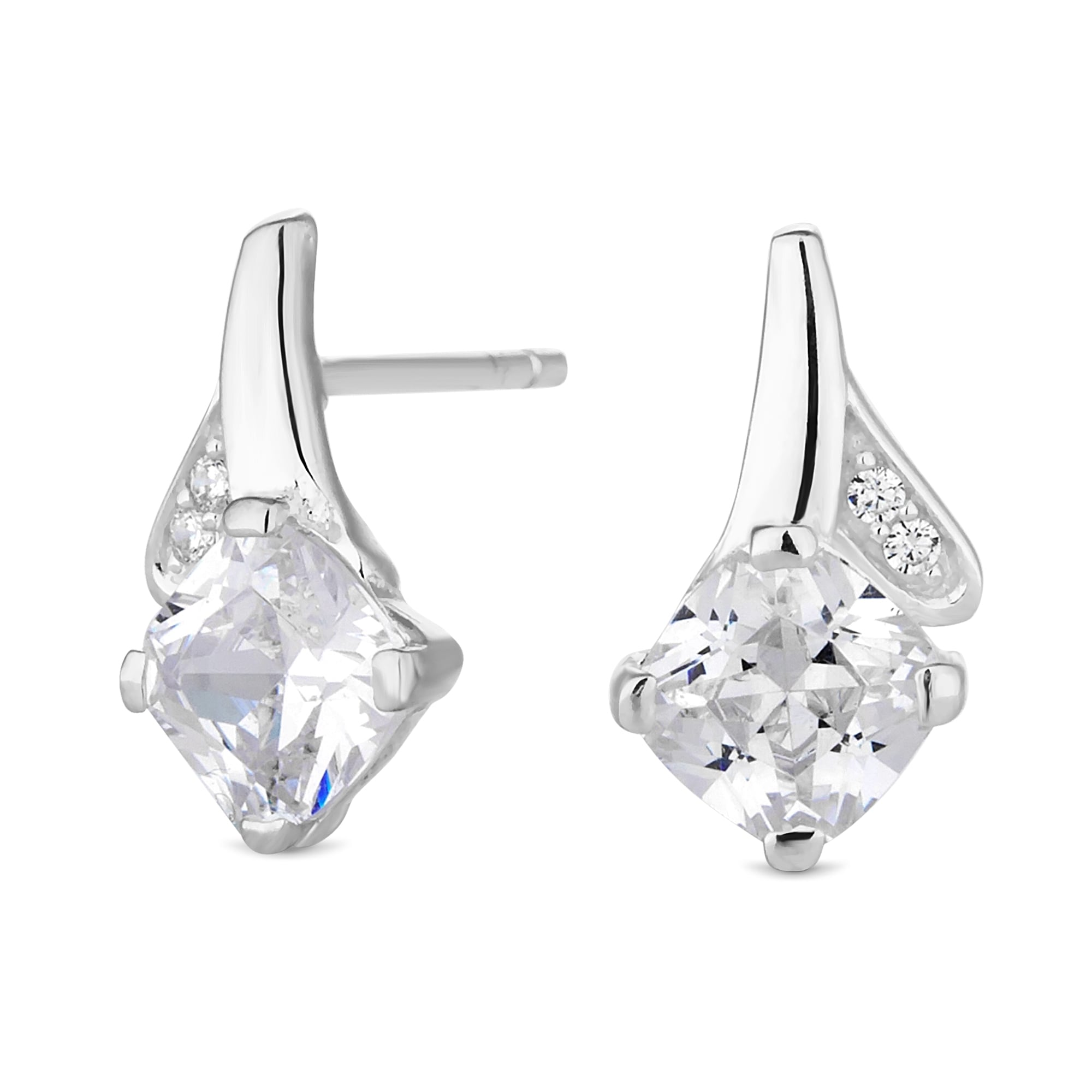 sterling x products cubic zirconia earrings micropave silver rectangle stud halo