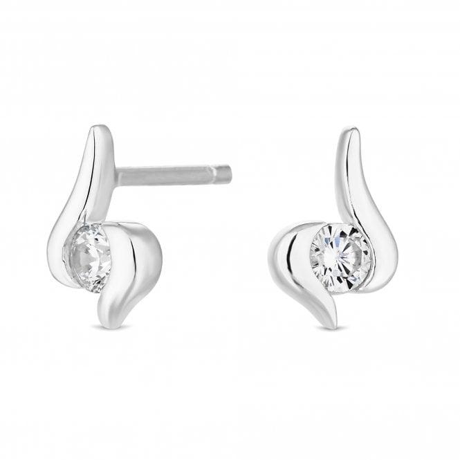 Sterling Silver Cubic Zirconia Swirl Drop Earring