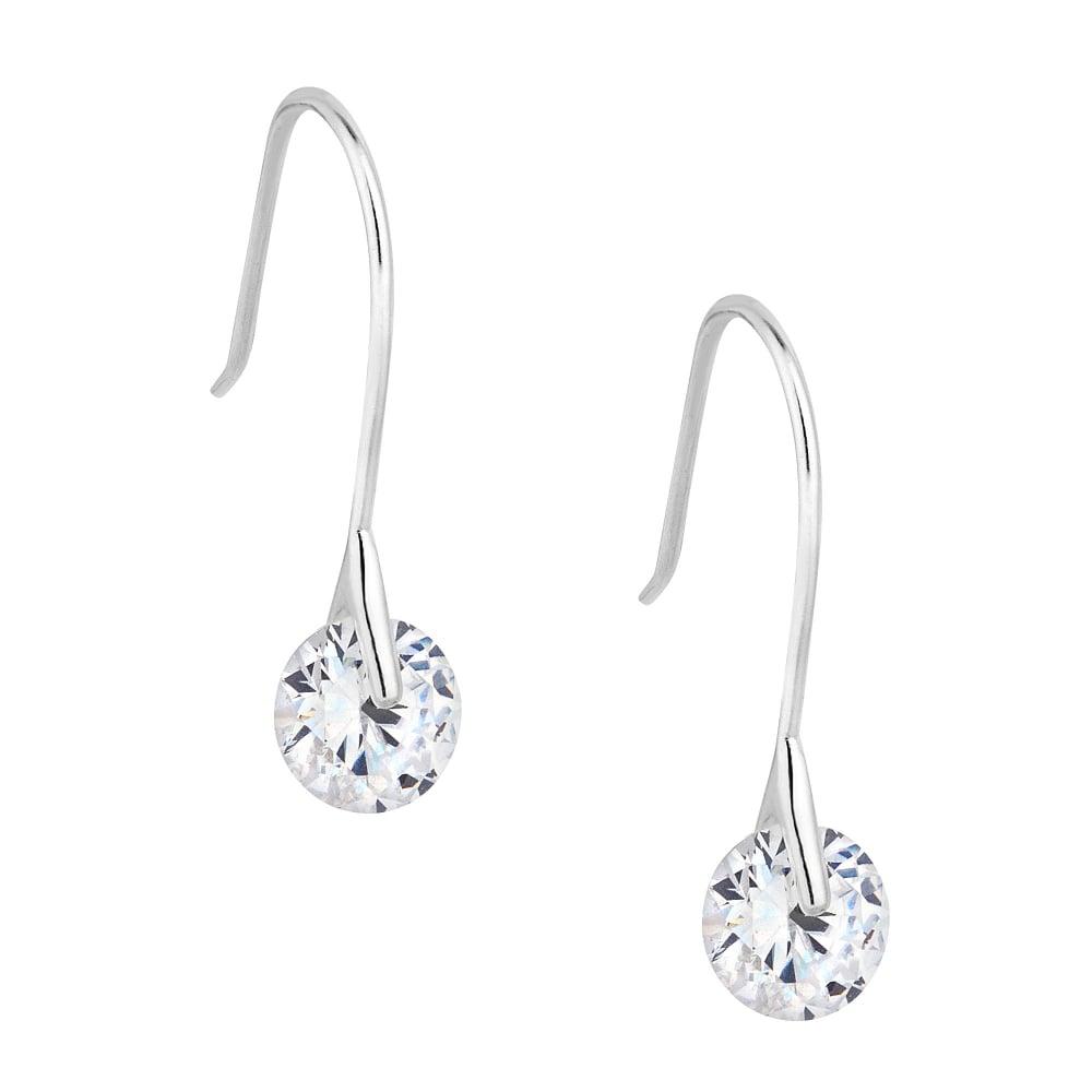 Sterling Silver Cubic Zirconia Tension Drop Earring