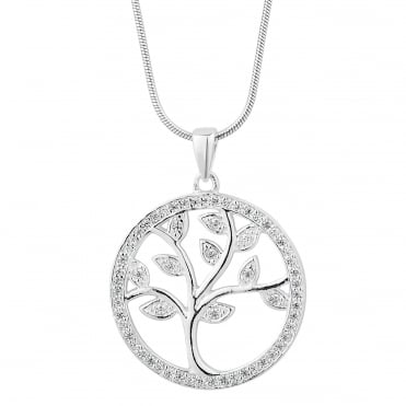 Sterling silver cubic zirconia tree of life necklace