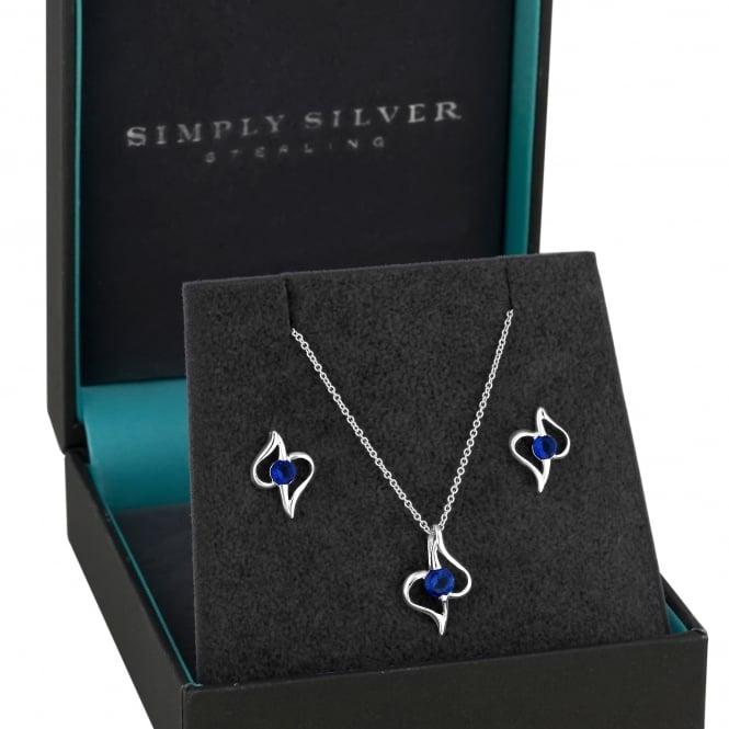 Sterling Silver Dark Blue Navy Cubic Zirconia Open Swirl Jewellery Set In A Gift Box