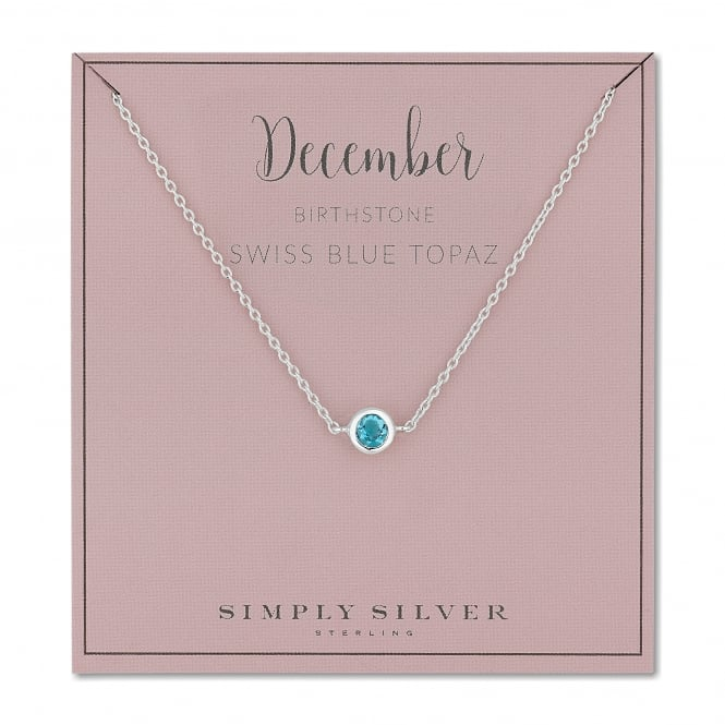 Sterling Silver Blue Topaz December Birthstone Necklace On A Gift Card