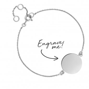 Sterling Silver Disc Bracelet - Personalise By Engraving