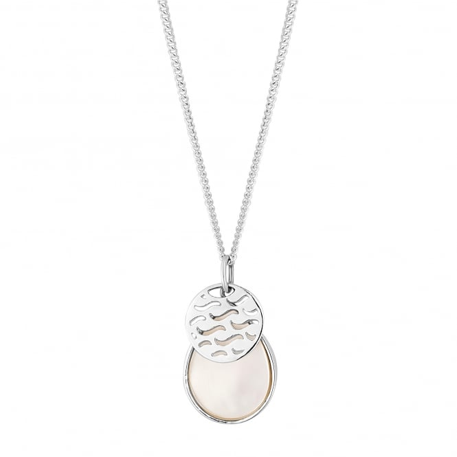 Sterling Silver Disc Layered On Mother Of Pearl Pendant Necklace