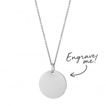 Sterling Silver Disc Necklace - Personalise By Engraving