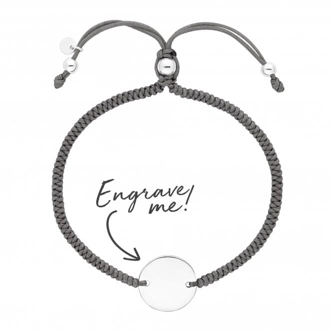 Sterling Silver Disc On A Grey Cord Toggle Bracelet - Personalise By Engraving