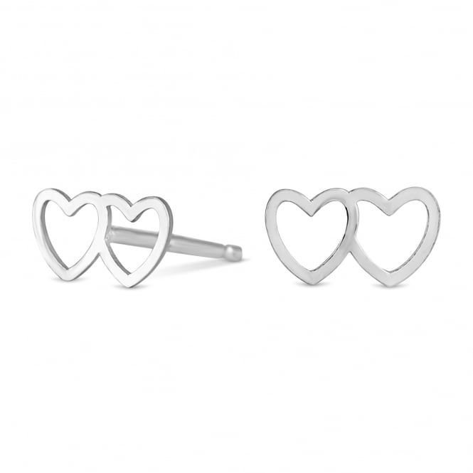 Simply Silver Sterling Silver Double Heart Stud Earring