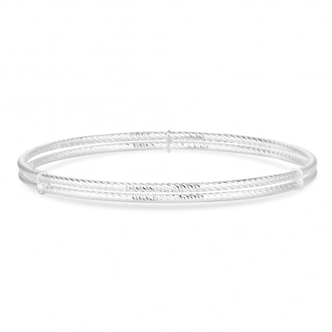 Simply Silver Sterling Silver Double Row Bangle