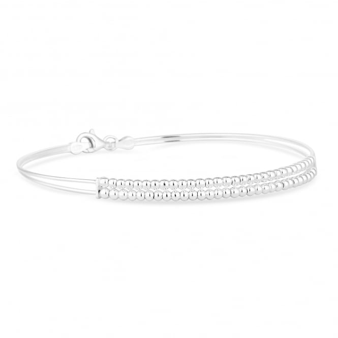 Simply Silver Sterling Silver Double Row Beaded Bangle