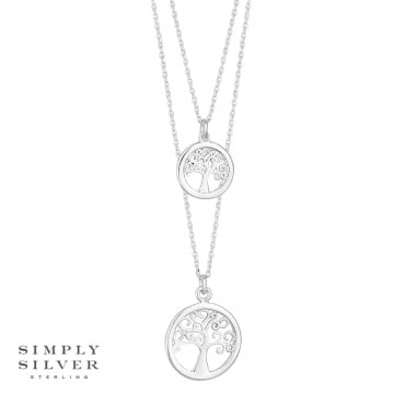 Sterling silver double tree of life necklace