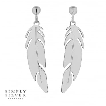 Sterling silver feather drop earring